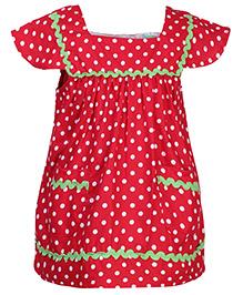 Babyhug Cap Sleeves Top - Red