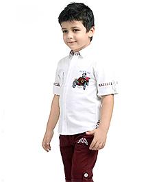 Active Kids Wear Shirt Capri Suit With Belt - White