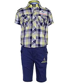 Active Kids Wear Half Sleeves Shirt And Half Pant - Navy