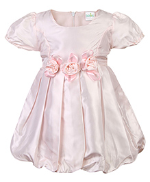 Babyhug Puff Sleeves Party Frock - Floral Applique