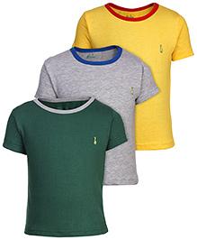 Babyhug Solid T-Shirt Short Sleeves - Set of 3