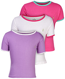 Babyhug Short Sleeves T-Shirt Contrast Neckline - Set of 3