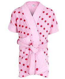 Babyhug Half Sleeves Bathrobe - Polka Dots Print