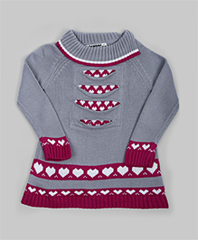 Gray & Magenta Heart Sweater