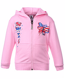 Cucumber Full Sleeves Hooded Jacket - Butterfly Print