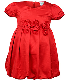 Babyhug Puff Sleeves Party Frock Red - Floral Applique