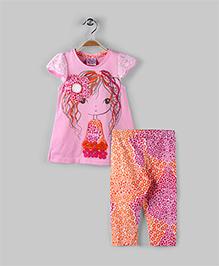 Pink & Orange Bohemian Girl Print 2 Piece Set