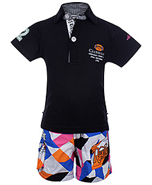 Active Kids Wear Half Sleeves T-Shirt And Shorts Set - Contrast Pattern