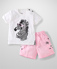 Active Kids Wear Half Sleeves T-Shirt And Shorts Zebra Print - White And Pink