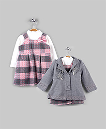 Pink Plaid & Misty Gray 3 Piece Winter Set