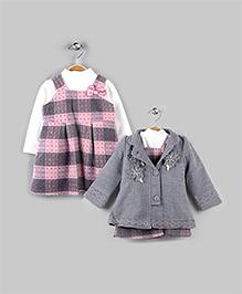 Pink Plaid & Misty Gray 3 Piece Winter Set