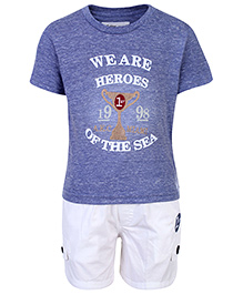 Active Kids Wear T-Shirt And Shorts We Are Heroes Of The Sea Print - Blue