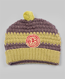 Olive & Taupe Striped Medallion Beanie