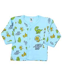 Cucumber Full Sleeves Vest Aqua Blue - Animal Print - 0 To 3 Months