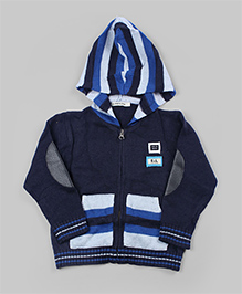 Navy Blue Striped Hoodie Cardigan