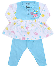 Babyhug Frock And Legging Set Teddy And Flower Print - Sky Blue