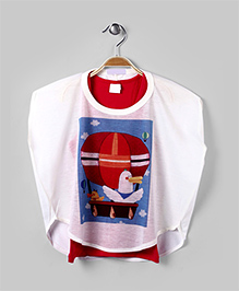 White & Red Boxy Fit Tee