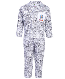 Cucumber Full Sleeves Night Suit - White