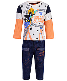 Cucumber Doctor Sleeves T-Shirt And Jeans - Roller Coaster Print - 0 To 3 Months