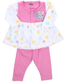 Babyhug Frock And Legging Set Teddy And Flower Print - Pink