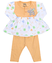 Babyhug Frock And Legging Set Teddy And Flower Print - Light Orange