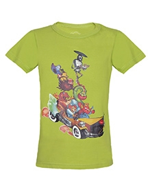 Imagica Half Sleeves T-Shirt - Mr India Car And Character Print