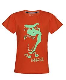 Imagica Half Sleeves T-Shirt - Neon Dinosaur Print