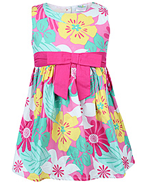 Babyhug Sleeveless Frock Pink - Bow Applique