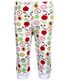 Babyhug Fruits Print Leggings Ribbed Hem - Multi Colour