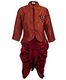 Babyhug Indo Western Dhoti Kurta Suit Maroon - Diamond Brooch