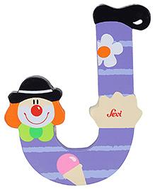 Sevi Wooden Letter Clown Alphabet J - Purple