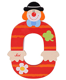 Sevi Wooden Number Clown Alphabet 0 - Red