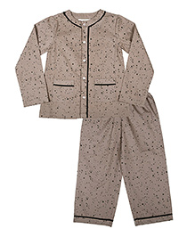 ShopperTree Full Sleeves Night Suit - Star Print