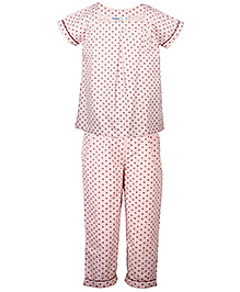 ShopperTree Half Sleeves Night Suit - Polka Dot Print