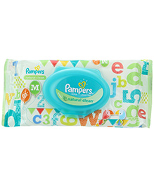 Pampers Baby Wipes Natural Clean - 64 Pieces