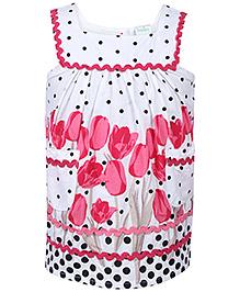 Babyhug Sleeveless Pleated Top - Tulip Print