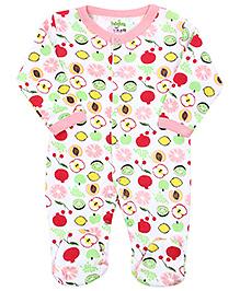 Babyhug Full Sleeves Sleep Suit - Fruits Print