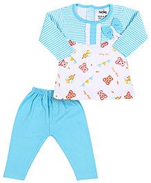 Babyhug Full Sleeves Frock And Legging Set - Bow Applique