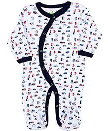 Babyhug Full Sleeves Sleep Suit Overlap Style - Vehicle Print