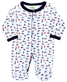 Babyhug Full Sleeves Footed Sleep Suit - Vehicle Print