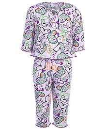 Cucumber Full Sleeves Night Suit - Violet