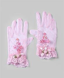 Baby Pink Floral Gloves