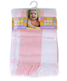 Mee Mee Super Soft Shawl - White And Pink