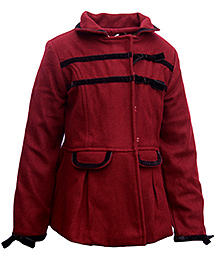 Gron Full Sleeves Jacket Dress - Red