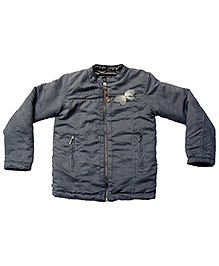Gron Full Sleeves Jacket Butterfly Applique - Grey