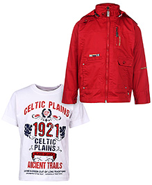 Noddy Original Clothing Hooded Jacket With T-Shirt - Red