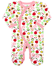 Babyhug Full Sleeves Sleep Suit Overlap Style - Fruits Print