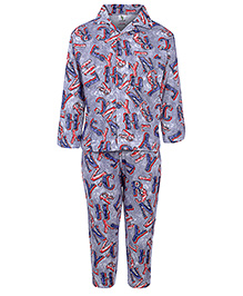 Cucumber Full Sleeves Night Suit Blue - Alphabet Print - 6 To 12 Months
