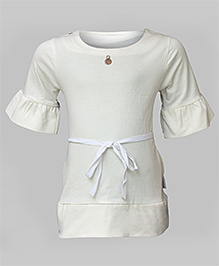 Minj Party Dress With String Belt - Off White