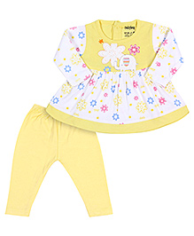 Babyhug Full Sleeves Frock And Legging Set - Elephant And Floral Print